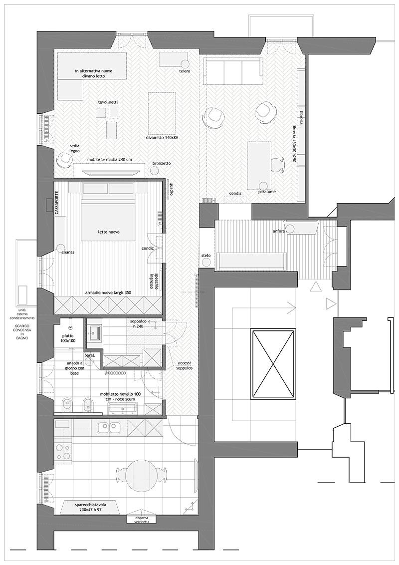 Progetto Appartamento 50 Mq ristrutturazione appartamento a roma 100 mq